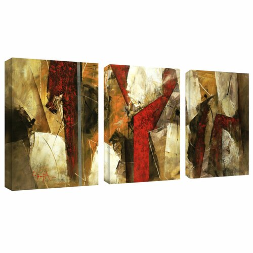 Trademark Global Abstract IX by Lopez 3 Piece Painting Print on Canvas Set