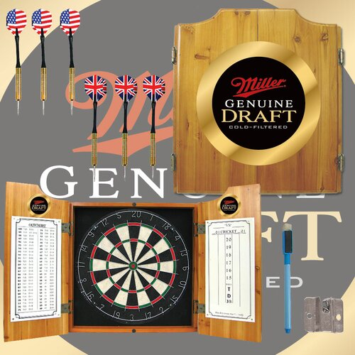 Trademark Global Miller Genuine Draft Dart Cabinet in Medium Wood