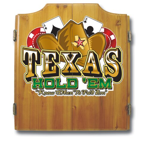 Trademark Global Texas Hold'em Dart Cabinet in Medium Wood
