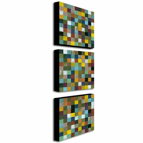 Trademark Global Rustic Wood by Michelle Calkins 3 Piece Painting Print on Canvas Set