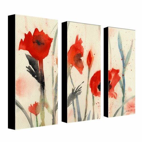 Trademark Global Poppies by Sheila Golden 3 Piece Painting Print on Canvas Set