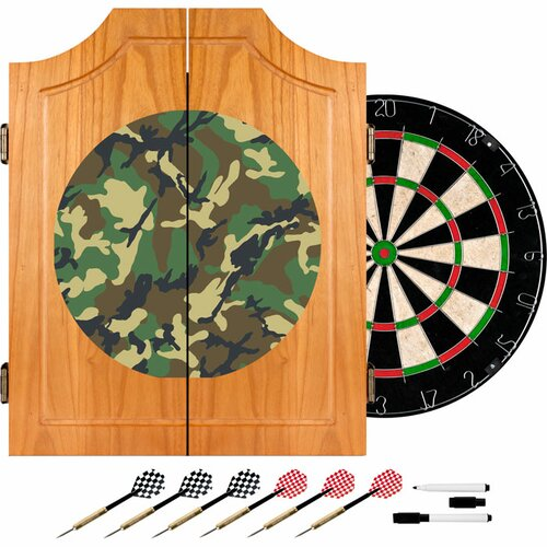 Hunt Camo Wood Dart Cabinet Set