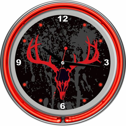 "Trademark Global 14.5"" Hunt Camo Double Ring Neon Wall Clock"