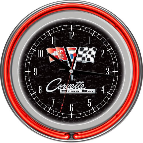 "Trademark Global 14.5"" Corvette C2 Double Ring Neon Wall Clock"