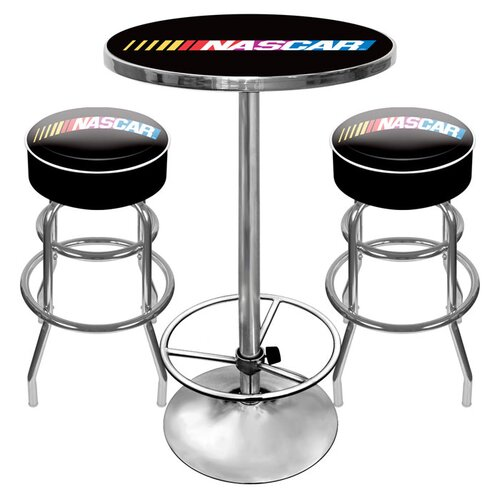 Trademark Global NASCAR Game Room 3 Piece Pub Table Set
