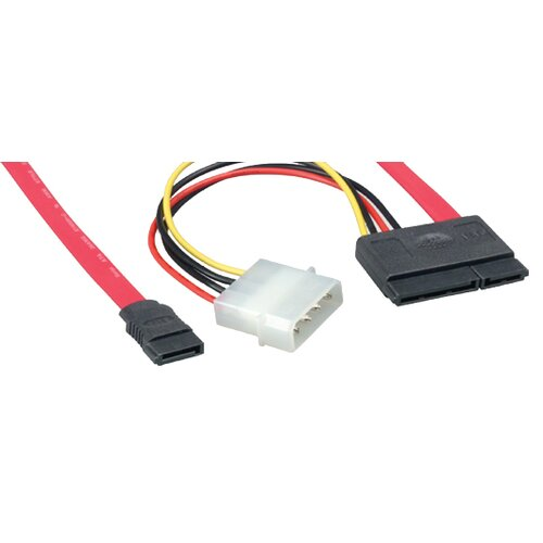 "Comprehensive 18"" Serial ATA Cable 180 degree with 15 Pin Power Adapter"