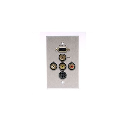 Comprehensive Wallplate with HD15, Stereo Mini, S-Video, and 3 RCA Connectors