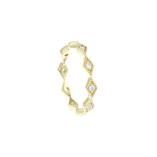 Gold Overlay Sterling Silver Cubic Zirconia Micro Pave Stackable Ring