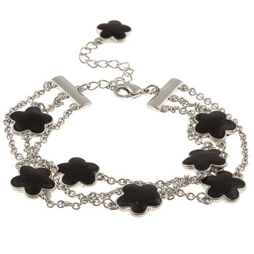 Zirconmania Silvertone Enamel Three Strand Bracelet