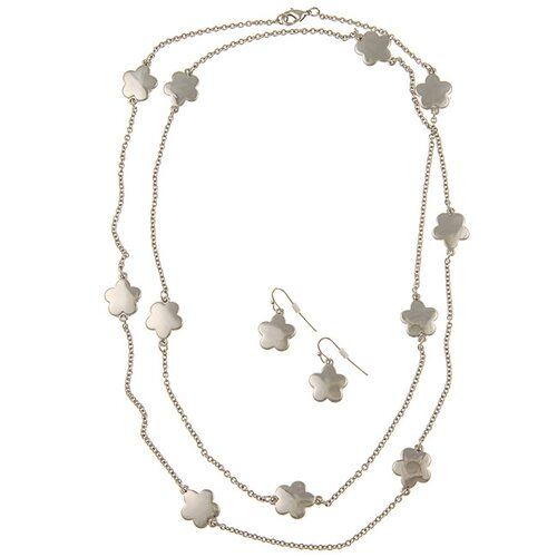 Silvertone Mirror Polish Daisy Necklace and Earring Set