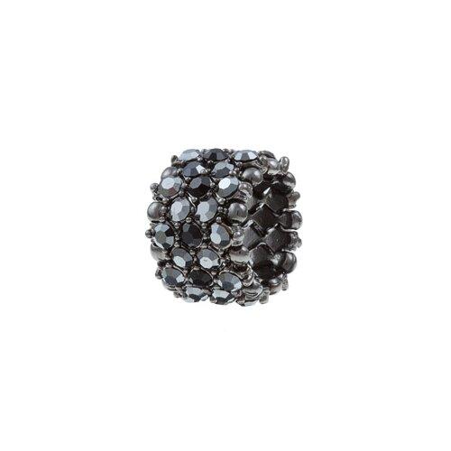 Zirconmania Gunmetal Crystal 5-Row Stretch Fashion Ring