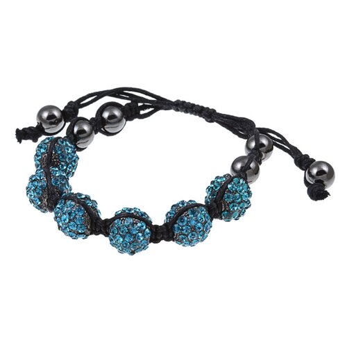 Zirconmania Black Cord Macrame Blue Zircon Crystal Adjustable Bracelet
