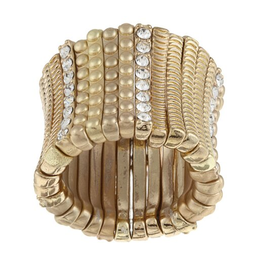 Satin Goldtone Crystal Stretch Ring