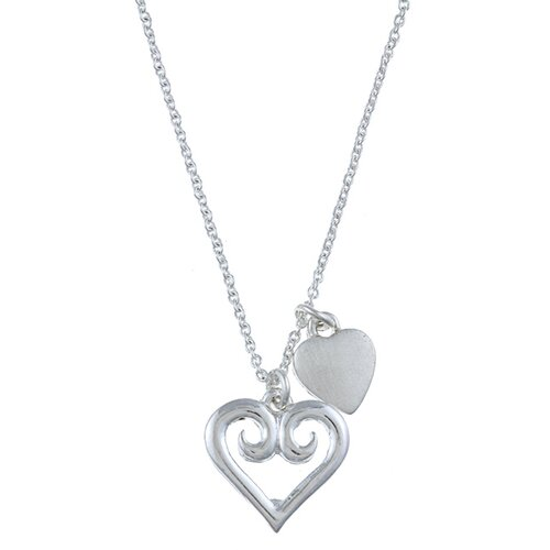 Silvertone Swirl Heart 'Love' Charm Necklace