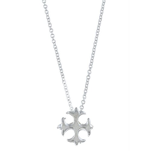 Silvertone Gothic Cross 'Faith' Charm Necklace