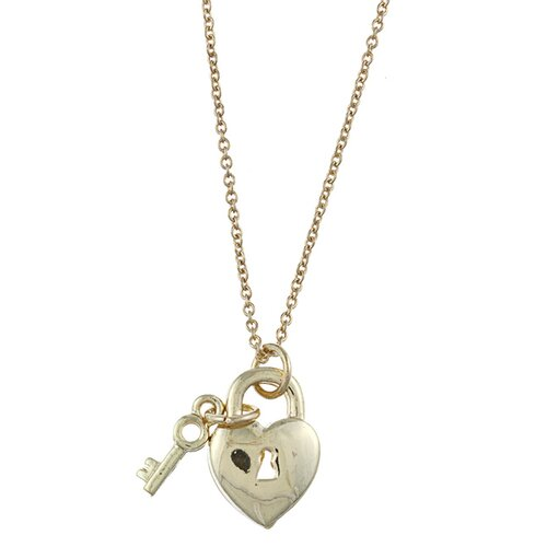 Zirconmania Gold Tone Heart Lock and Key 'Love' Charm Necklace