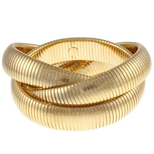 Gold Overlay Interlocked Omega Stretch Bracelet