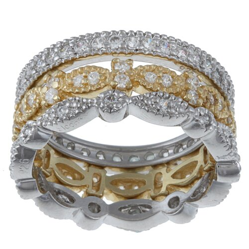 Zirconmania Sterling Silver and Gold Over Silver Cubic Zirconia Silver Rings 3 Piece Set