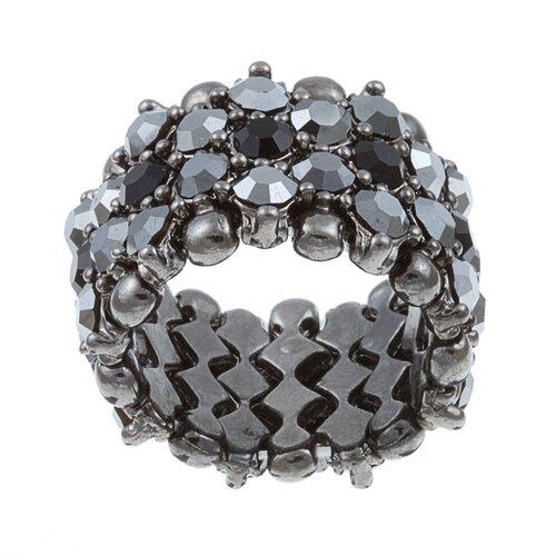 Gunmetal Crystal 5-Row Stretch Fashion Ring