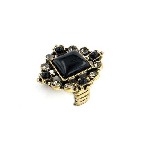 Goldtone Black Cabochon and Crystal Stretch Ring