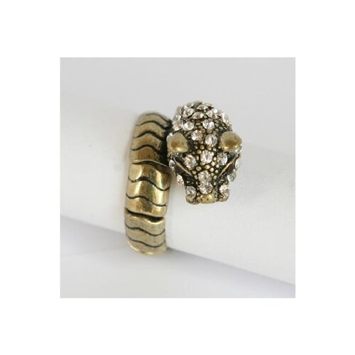 Goldtone Crystal Panther Stretch Ring