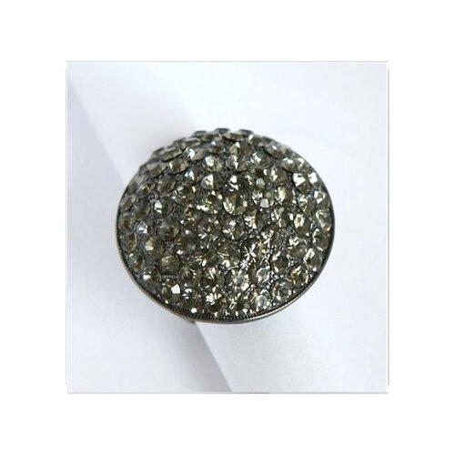 Gunmetal Black Crystal Pave Oversized Stretch Ring