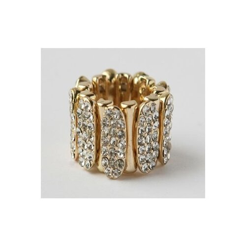 Goldtone Pave Crystal Sectional Stretch Ring