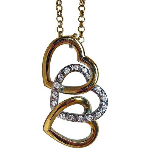Two-tone Crystal Extra Large Interlocking Heart Necklace