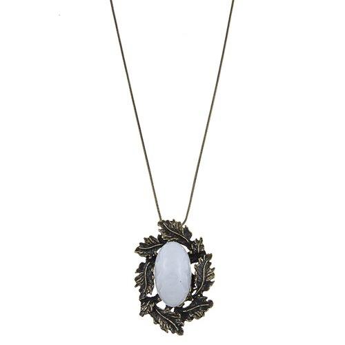 Trendbox Jewelry Leafy Stone Pendant Necklace