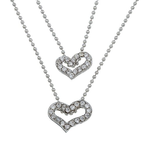 Two Chain Graduated Crystal Heart Necklace