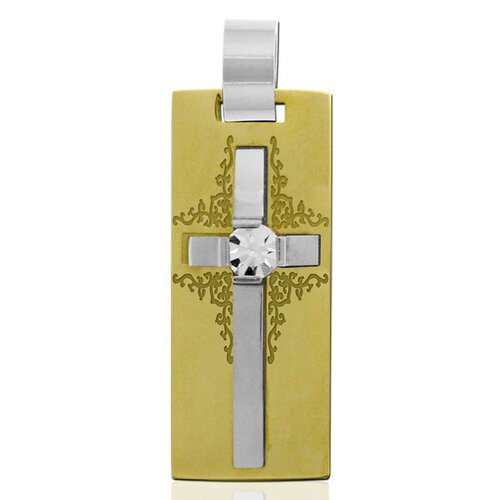 Trendbox Jewelry Two-tone Cross Center Crystal Necklace