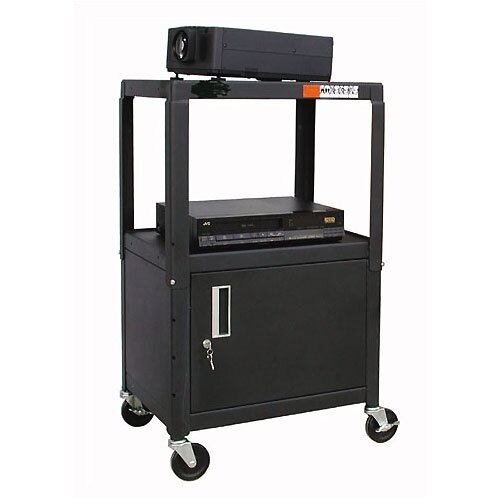 Buhl Adjustable Steel AV Cart with Locking Cabinet