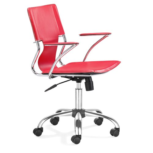 Trafico Office Chair with Red PVC Seat and Back