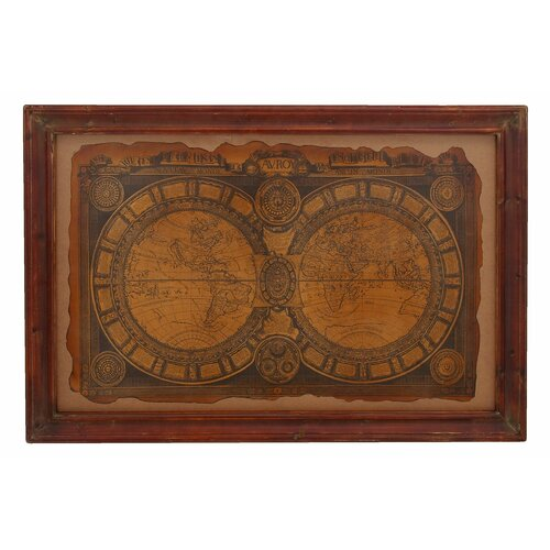 Ancient 17th Century World Map Framed Graphic Art