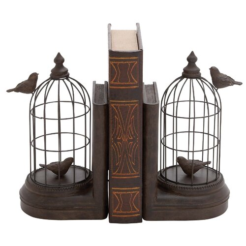 Woodland Imports Metal and Polystone Bird Cage Book Ends