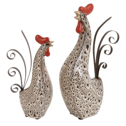 Woodland Imports 2 Piece Rooster Figurine Set