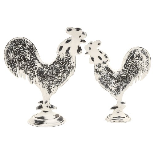 2 Piece Rooster Decor