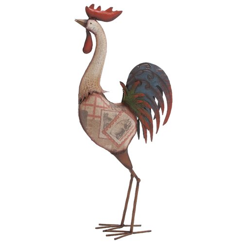 Metal Rocking Rooster Statue