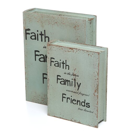 Woodland Imports Motivational Faith and Family Book Boxes