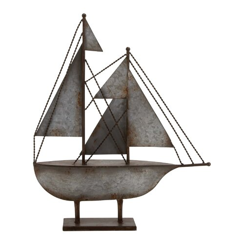 Woodland Imports Rustic Antique Styled Fascinating Metal Sailboat