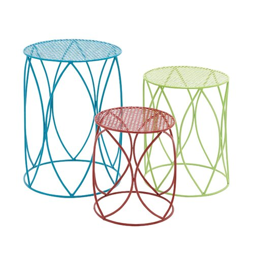 Woodland Imports The Colorful 3 Piece Plant Stand