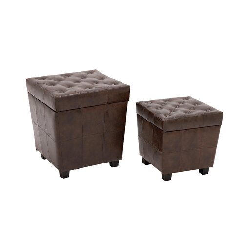 2 Piece All-Rounder Wood / Faux Leather Stool Set
