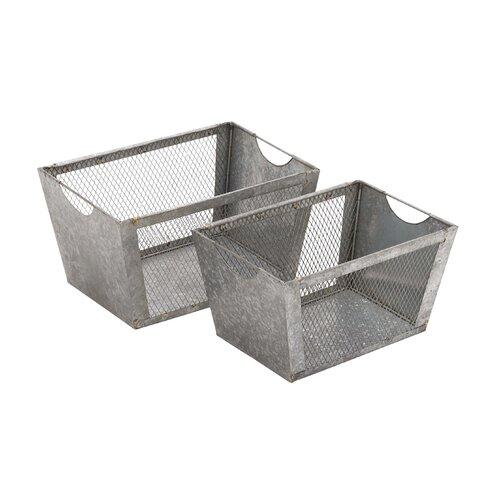 Multipurpose 2 Piece Metal Wire Basket Set