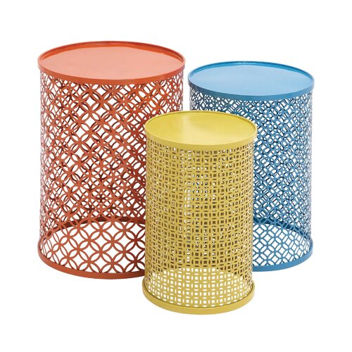 3 Piece Colorful End Tables Set