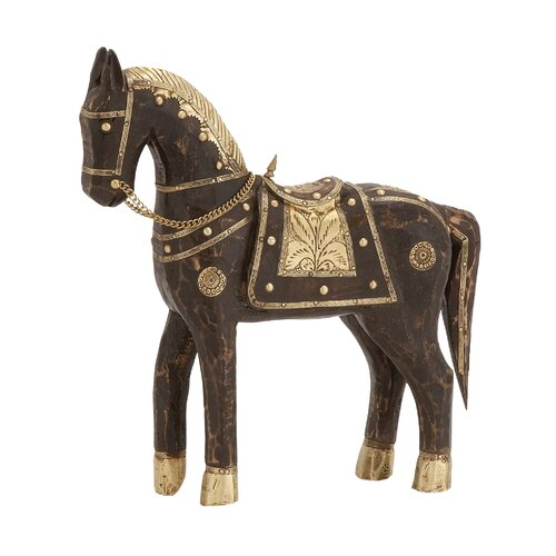 The Studded Wood Brass Horse Statue