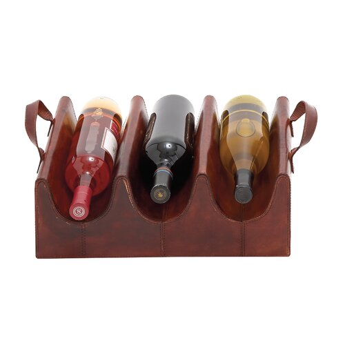 Wood Real Leather 3 Bottle Wine Rack