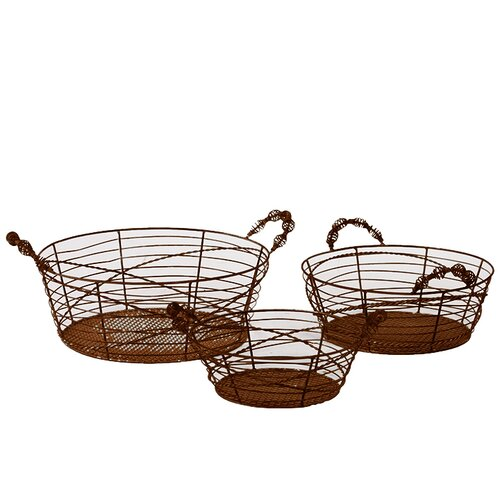 3 Piece Oval Shaped Elegantly Wired Metal Basket Set
