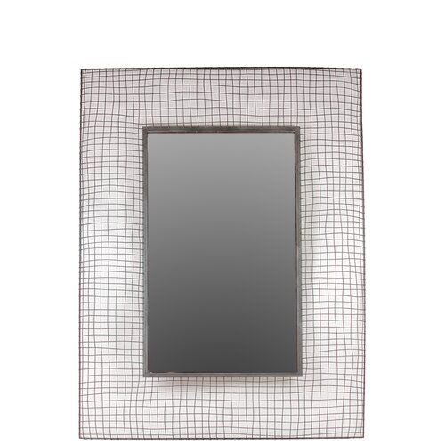 Rectangle Shaped Metal Mirror Designed with Wire Mesh Pattern