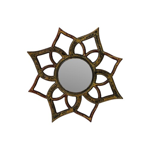 Floral Design Wooden Mirror with Weathered Effect