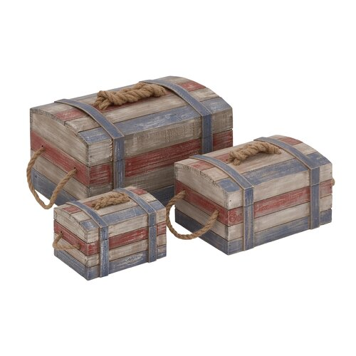 Woodland Imports 3 Piece Perfect Storage Attractive Wood Rope Box Set